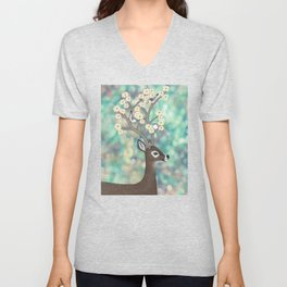 white tailed deer, white breasted nuthatches, & dogwood blossoms Unisex V-Neck