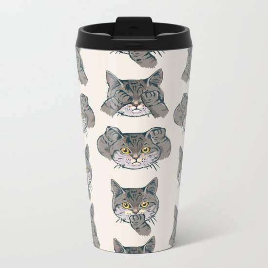 No Evil Cat Metal Travel Mug