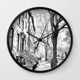 Cobble Hill Brooklyn Winter Black and White Brownstone Wall Clock