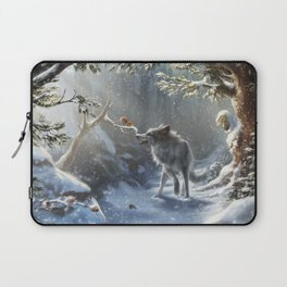 Friends: Wolf & Squirrel in Winter Laptop Sleeve