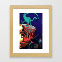 Part 2: Brontosorus Vs. The Space Octopus Framed Art Print