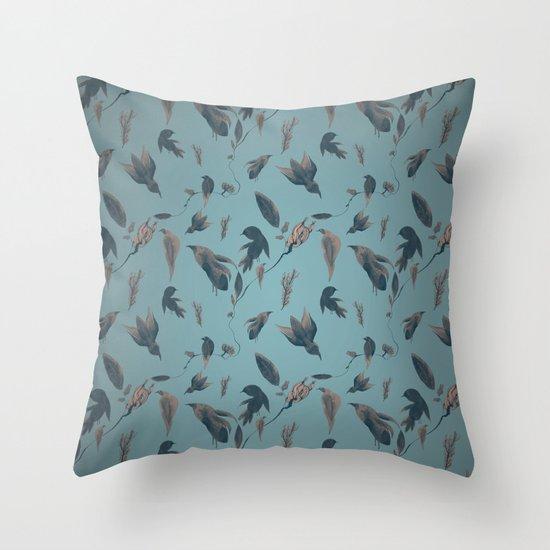 birds pattern Throw Pillow