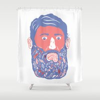 beard Shower Curtains featuring Flowers in Beard by David Penela