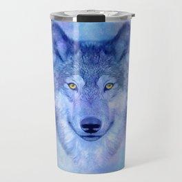 Sky blue wolf with Golden eyes Travel Mug