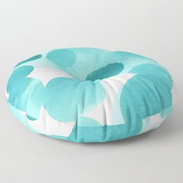 Aqua Bubbles: Abstract turquoise watercolor painting Floor Pillow