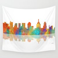 philadelphia Wall Tapestries featuring Skyline Philadelphia by Marlene Watson