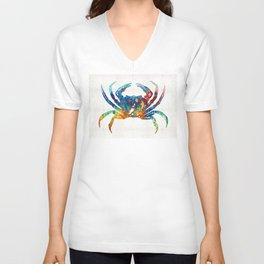 Colorful Crab Art by Sharon Cummings Unisex V-Neck