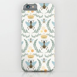 Queen Bee with Gold Crown and Laurel Frame iPhone Case