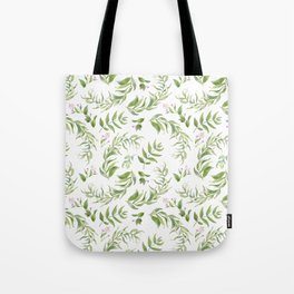 Green pink watercolor hand painted floral leaves Tote Bag