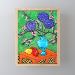 Allium on Orange Table Framed Mini Art Print