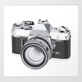 Film Camera Favorite - Digital illustration 1980s 35mm SLR Camera Art Print