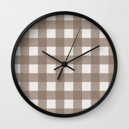Gingham Cloth / Mocha Checks Wall Clock