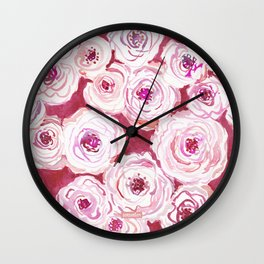 ROSIE VIEW Red Watercolor Roses Wall Clock