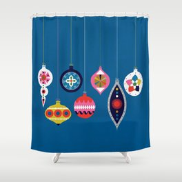 Retro Christmas Baubles on a dark background Shower Curtain