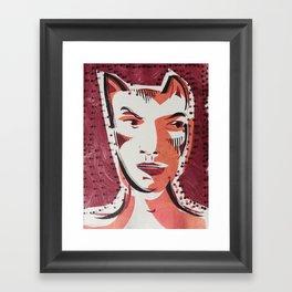 Cat Woman Cartoon Face Framed Art Print