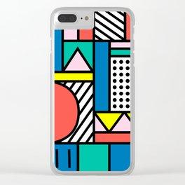 Memphis Color Block Clear iPhone Case