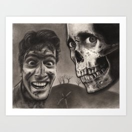 Ash with Skull and Cross - Evil Dead 2 Charcoal and Graphite Drawing Art Art Print