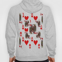 RED QUEEN OF HEARTS  & ACES PLAYING CARDS ARTWORK Hoody
