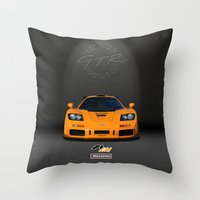 f1 Throw Pillows featuring 1995 McLaren F1 LM  by vsixdesign