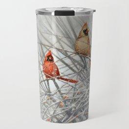 Cardinal Couple in Winter Travel Mug