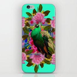 GREEN PEACOCK &  PINK ROSE GARDEN TURQUOISE ART iPhone Skin