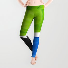 Mid Century Vintage Abstract Minimalist Colorful Pop Art Lime Green Phthalo Blue Black Bubbles Leggings