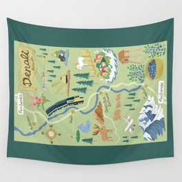 Denali Borough Map Wall Tapestry