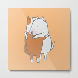 Bull Terrier Hugs Metal Print