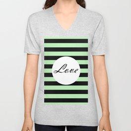 Vintage Love - Pastel green and black design Unisex V-Neck