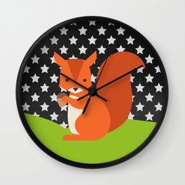 Squirrel, animals, stars, Chalkboard , nursery decor , children gift, birthday gift Wall Clock