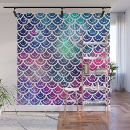 Mermaid Scales Pink Turquoise Blue Wall Mural