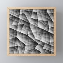 Monochrome pattern of chaotic black and white glass fragments, irregular cubic figures and ice floes Framed Mini Art Print