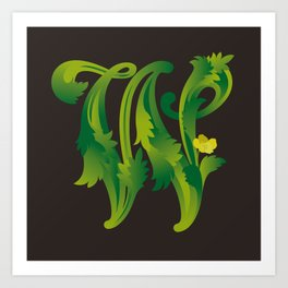 Letter 'W' is for Waldsteinia Art Print
