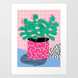Shredding - indoor house plant pop art grid pattern minimal abstract neon 1980s style memphis retro Art Print