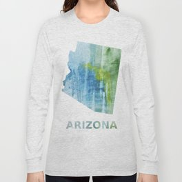 Arizona map outline Blue green colored wash drawing Long Sleeve T-shirt