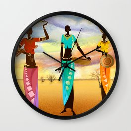 Masai Women Quest For Grains Wall Clock