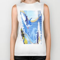 snowboarding Biker Tanks featuring Snowboarding by Robin Curtiss
