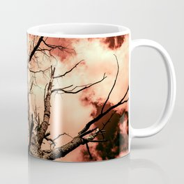 The Reaching Red Branch Tree Art in Nature Modern Forest Abstract Coffee Mug