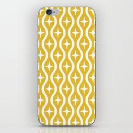 Mid century Modern Bulbous Star Pattern Mustard Yellow iPhone Skin