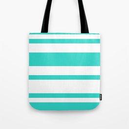 Mixed Horizontal Stripes - White and Turquoise Tote Bag