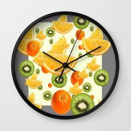 ORANGES & KIWI FRUIT GREY COLLAGE Wall Clock