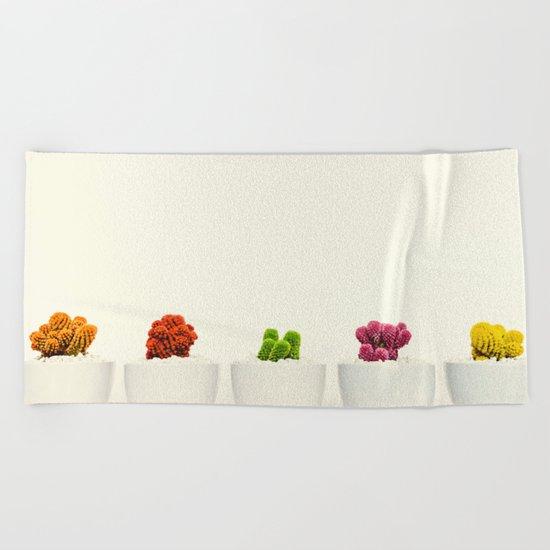 Creamy Cactus Colors Cuteness Cups Beach Towel