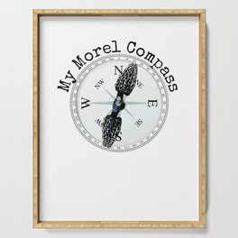 Morel Compass Mushroom Humor for Mycologists Serving Tray