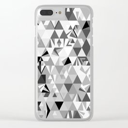 Polygonal Geometric in Silent Film • Mid-Century Modern Triangle Pattern Clear iPhone Case