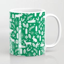 Winter forest woodland moose rabbit bear trees christmas gifts minimalist Coffee Mug