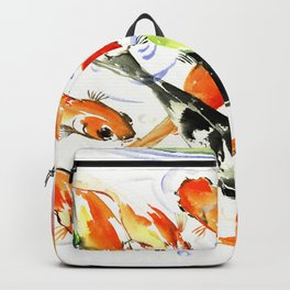 Koi Fish Pond, Feng Shui 9 koi fish art Backpack