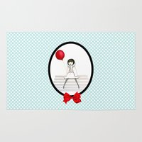 ballon Area & Throw Rugs featuring The red balloon - Le ballon rouge by Andi Lee artworks