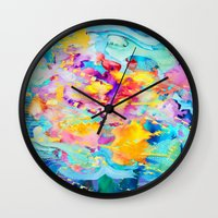 bubblegum Wall Clocks featuring bubblegum  by Lara Gurney