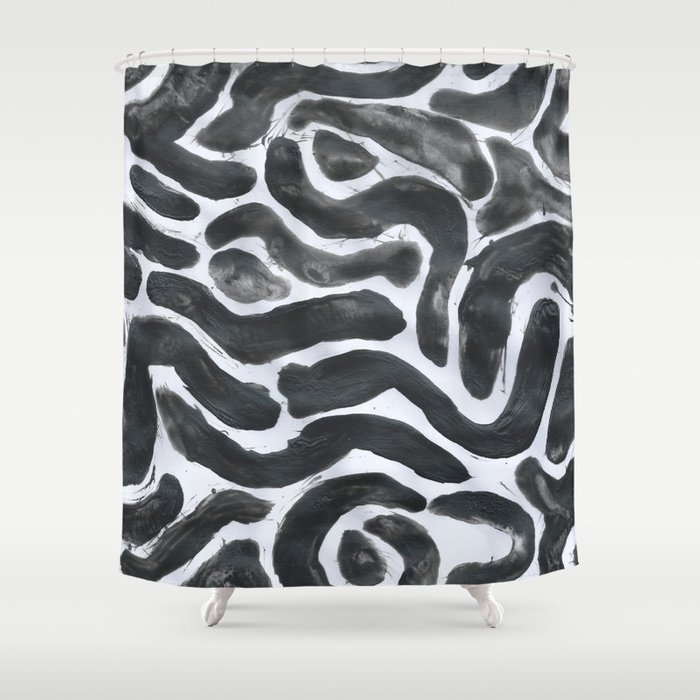 Haring Inspire Abstract Black White Shower Curtain