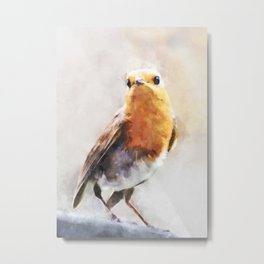 European Robin Orange Brown Bird Wildlife Animal Watercolor Artistic Painting Metal Print